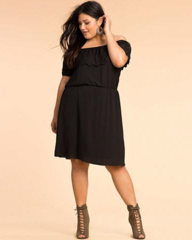 Flare Sleeve Black Dress