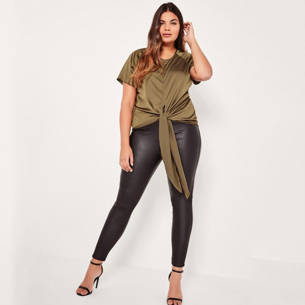 Olive tie front blouse, Plus size tops, tops, kanndie