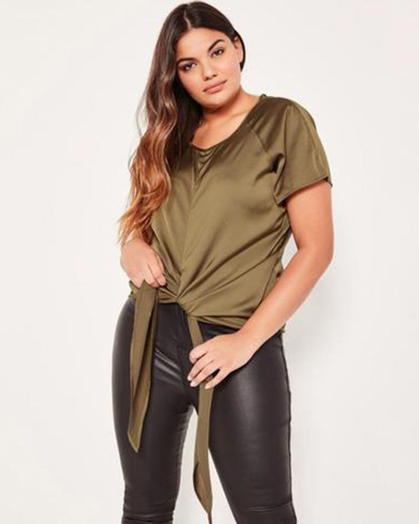 Olive Tie Front Blouse