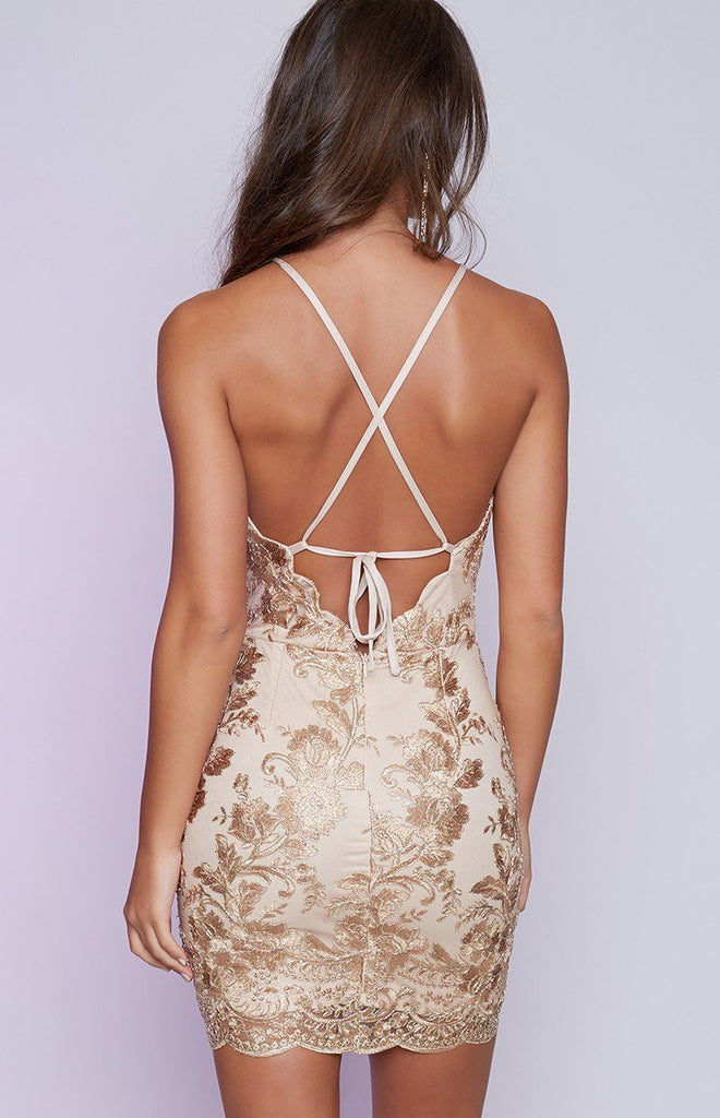 Backless Gold Lace Bodycon Mini Dress