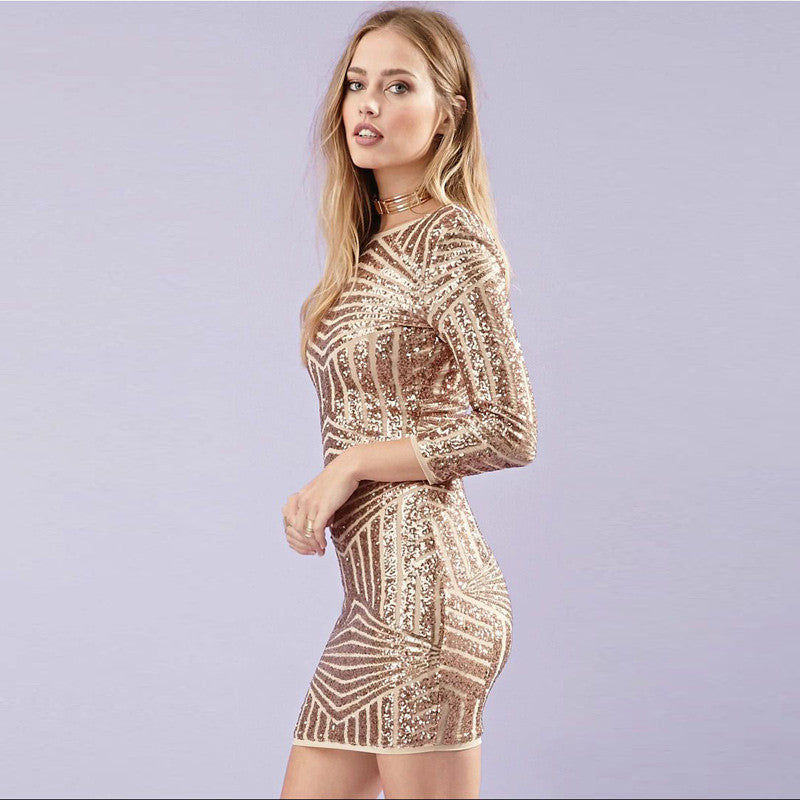 Gold Sequined Backless Bandage Dress, Date Night Dress, Kanndie, Prom Dress