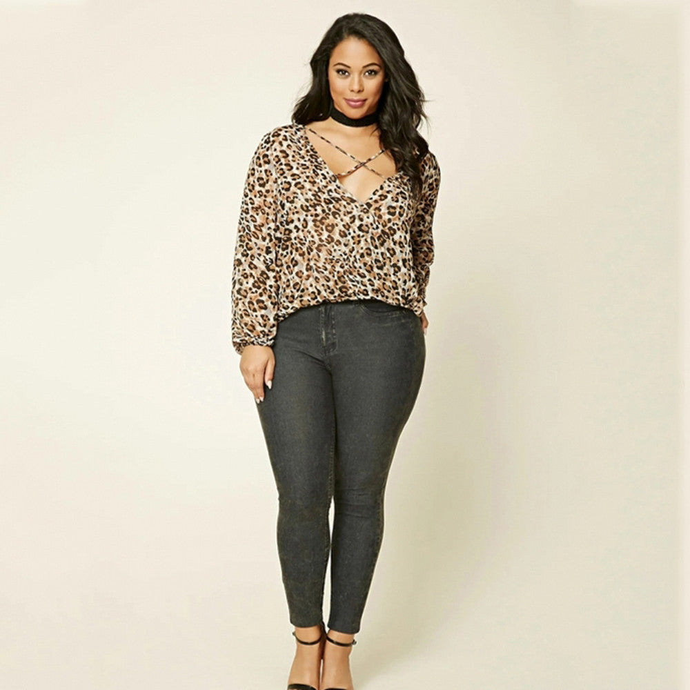 Leopard Print Top, Cross lace up top, plus size tops, tops-kanndie