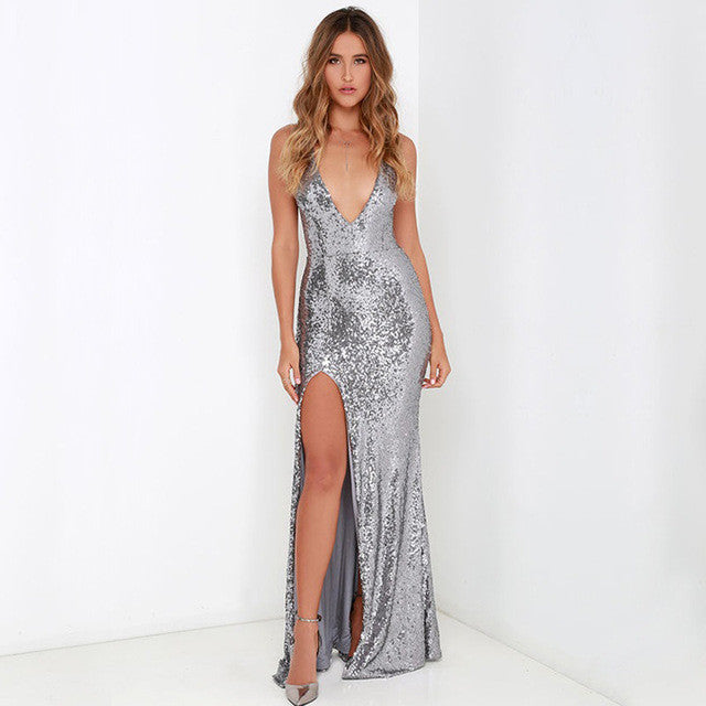 Silver Sequin Party Dress