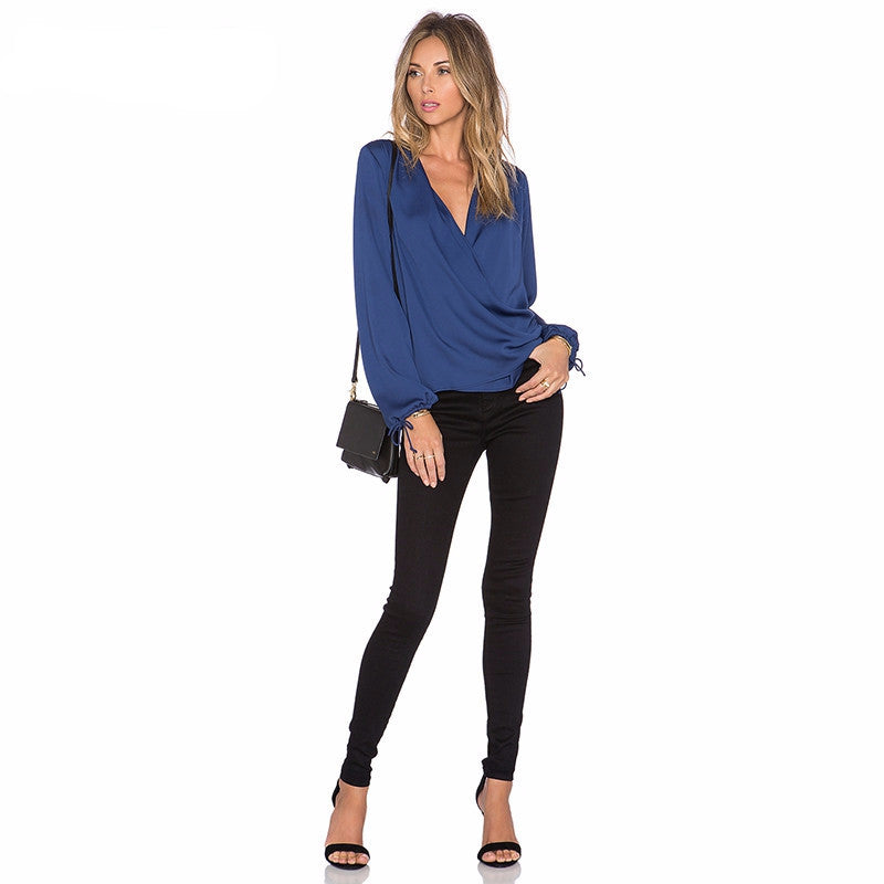 V Neck Wrap Top, Tops
