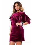 Ruffle Velvet Dress
