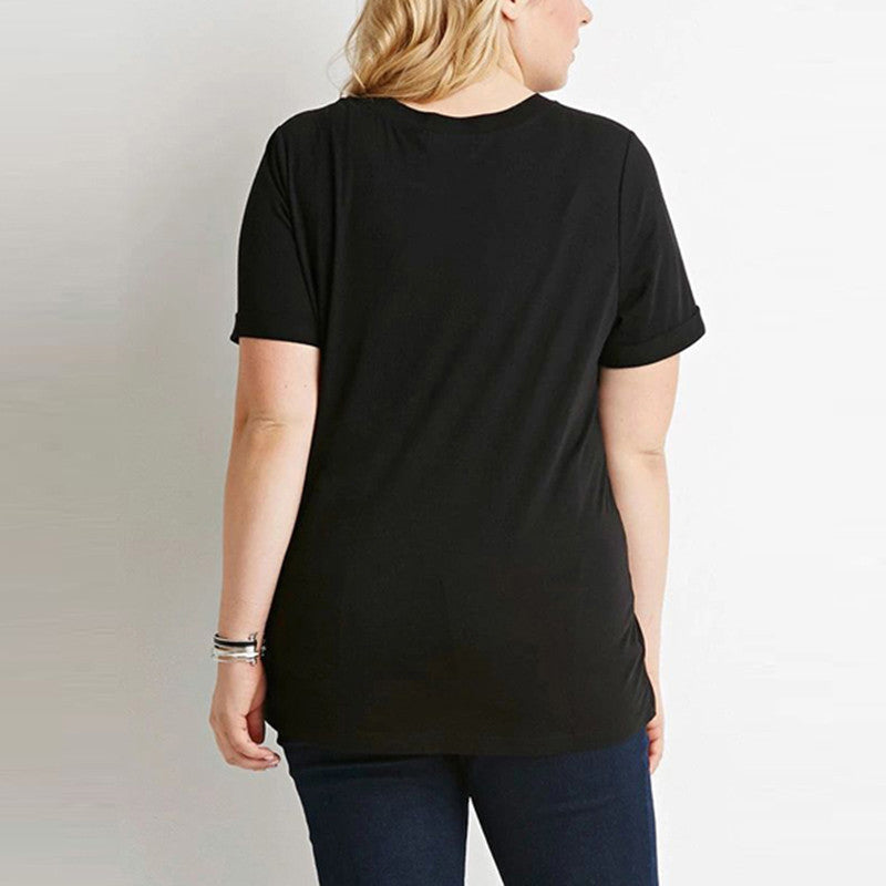Solid Black Casual Tee, Black Tops, Plus Size T-Shirts, Plus Size Tops
