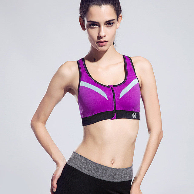 Zipper-Sports-Bra-Push-Up-Shockproof-Top-Underwear-with-Inner-Pad-Running-kanndie-sportsbra