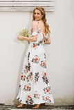 White Floral Print Summer Maxi Dress