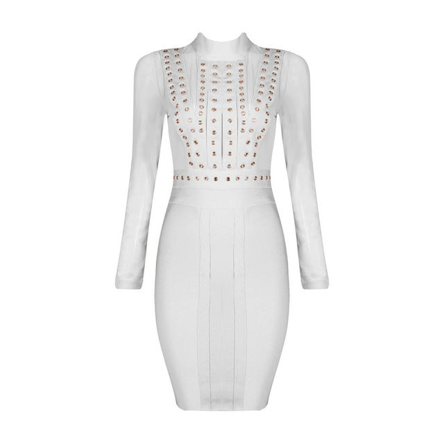 Mesh Studded Bandage Dress