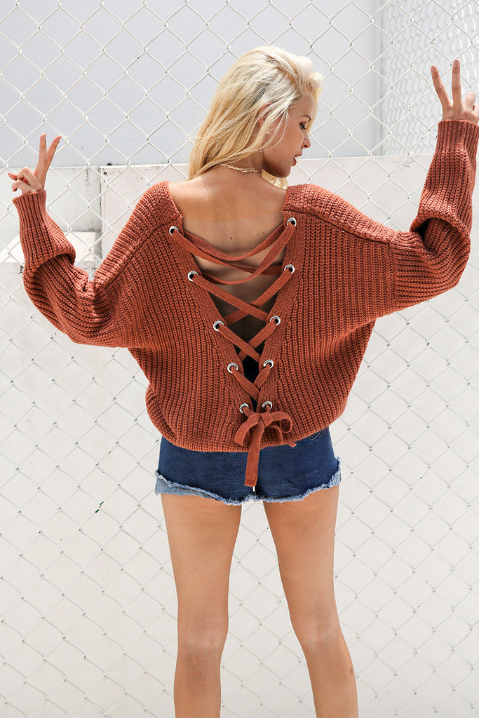 Backless Lace-Up Knitted Sweater