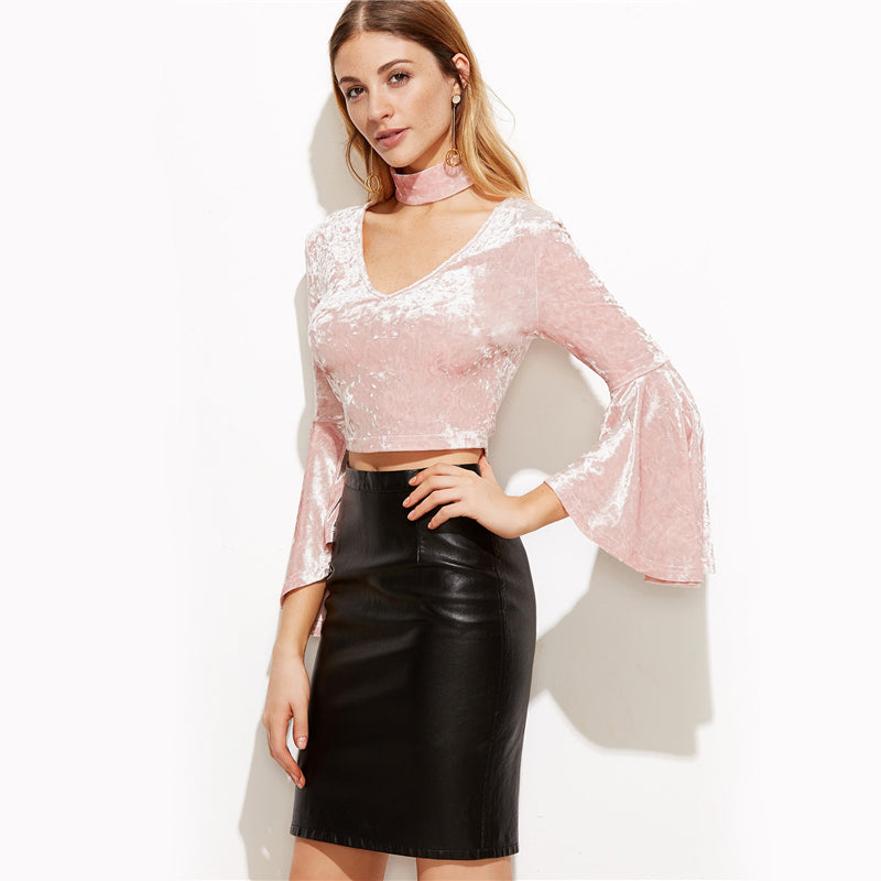 Velvet-choker-top-pink-top-cropped-top