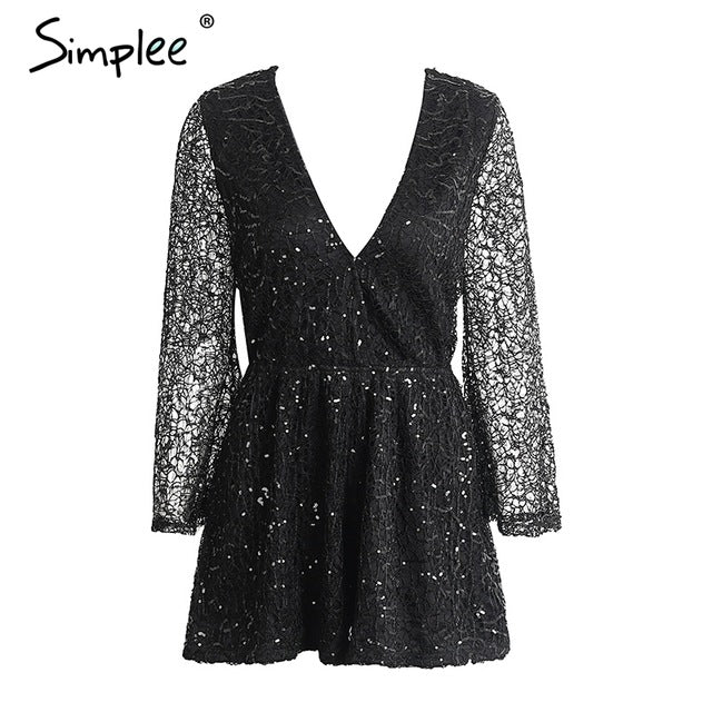 Simplee Sexy lace gold sequin jumpsuit romper Women deep v neck hollow out overalls Summer 2017 long flare sleeve black playsuit