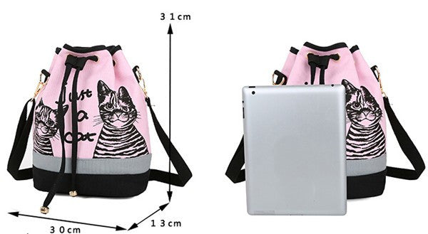 Cat Print Drawstring Messenger Bag