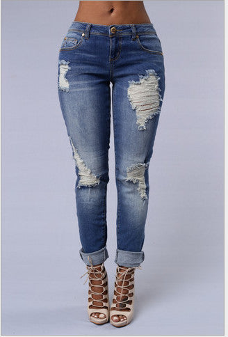 Trendy Ripped High Waist Blue Jeans