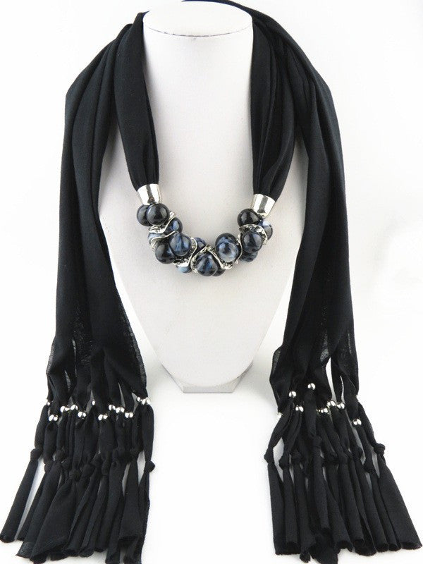 Beads Pendant Solid Scarf