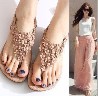 Flower Style Soft Leather Sandals
