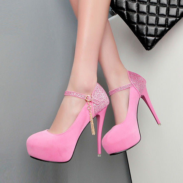 Trendy Sequined Split Platform Pumps