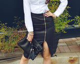Zipper PU Leather Skirt