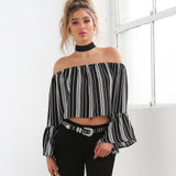 Slash Neck Striped Top, Off the shoulder striped top, Tops, Off the shoulder tops