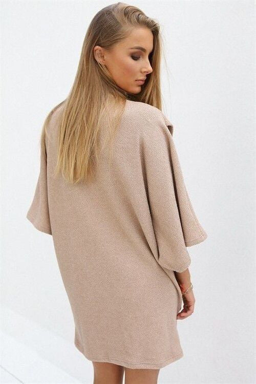 High Neck Knit Top, Flare Sleeve Top