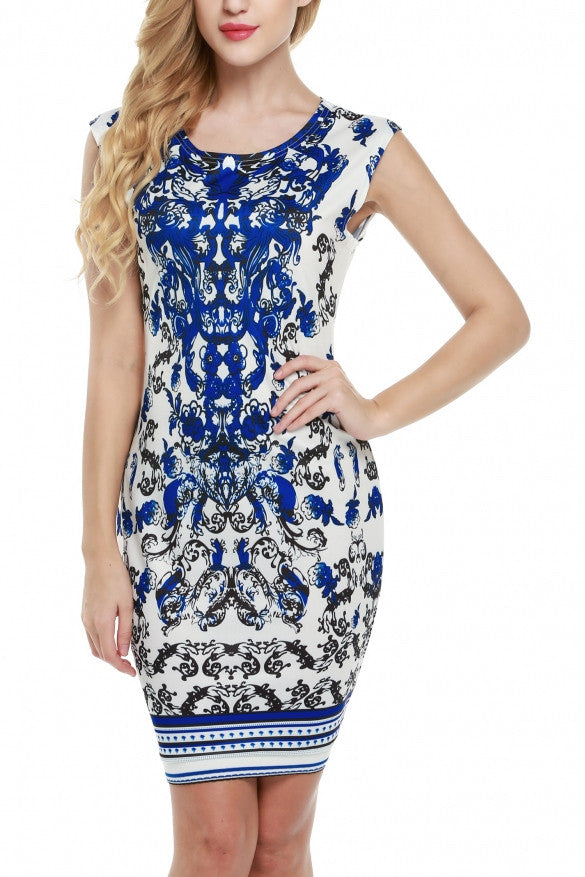 Blue and White Print Dress