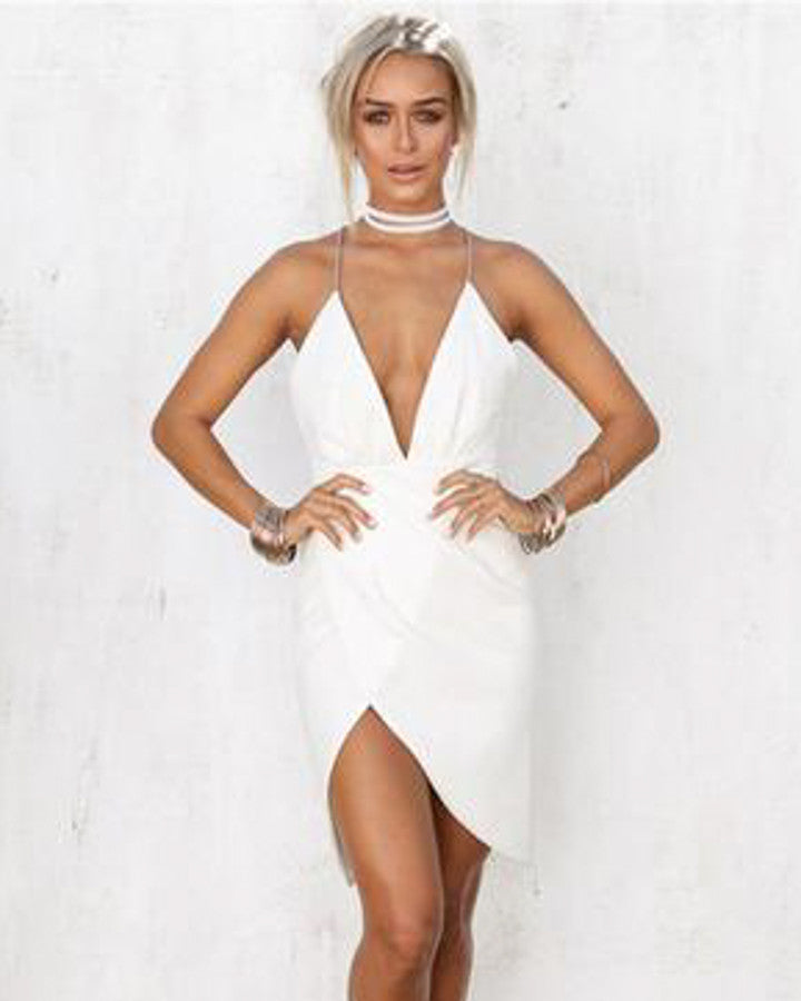 b38e4d7b5a7 Front V Plunge Solid White Dress – Kanndie