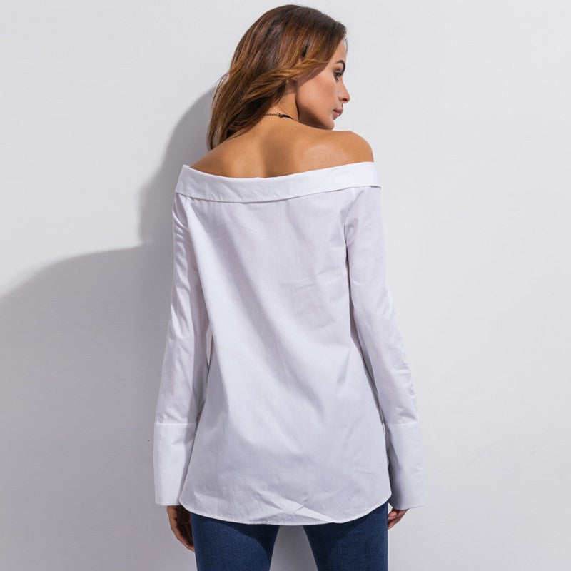 Off the shoulder cotton white blouse, kanndie, office wear,