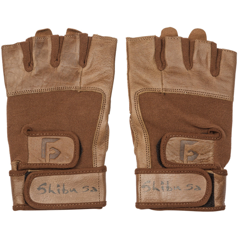brown leather gym gloves