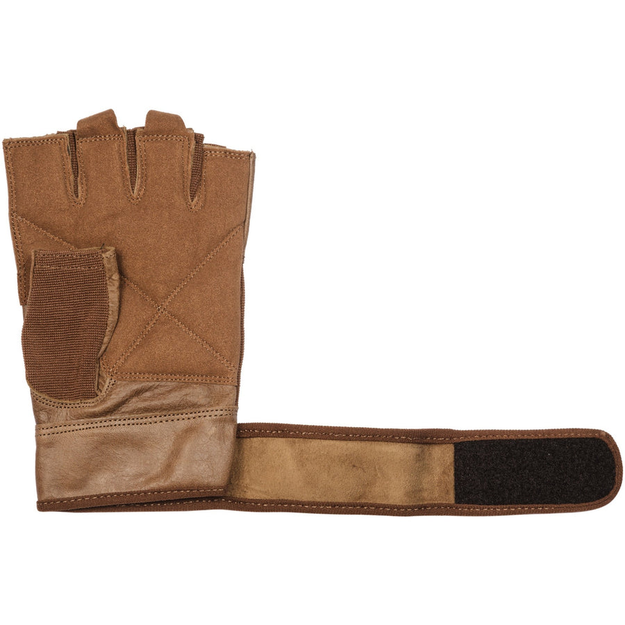 retro brown leather training gloves