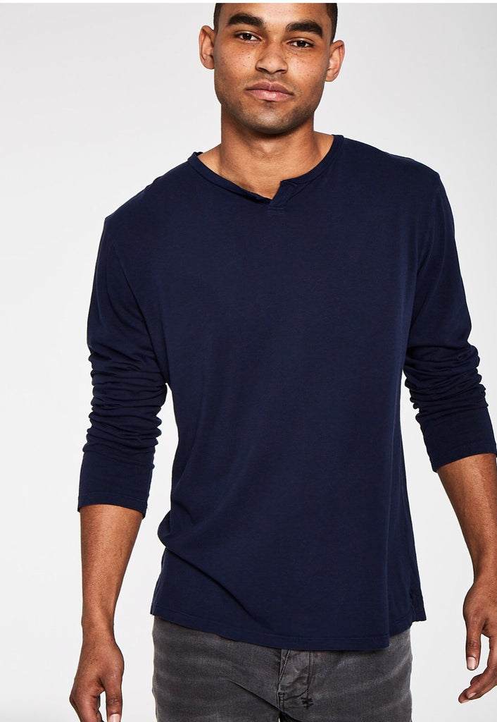 Long sleeve notch neck-Midnight Navy