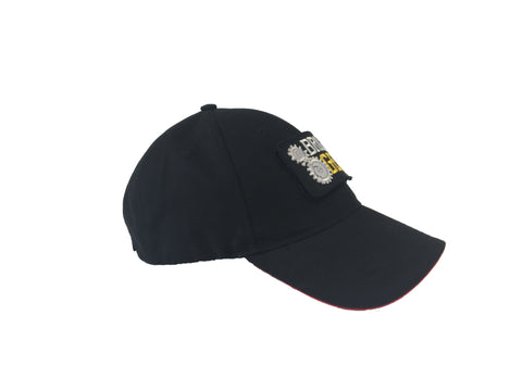 Broken Gear hat with removable Broken Gear patch, black