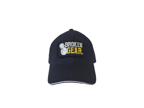 Broken Gear hat with removable Broken Gear patch, Navy, frontal view