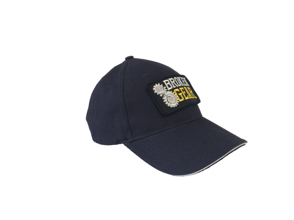 Broken Gear hat with removable Broken Gear patch, black, side view