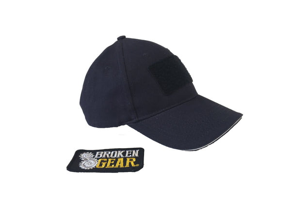Broken Gear hat with removable Broken Gear patch, black, patch removed