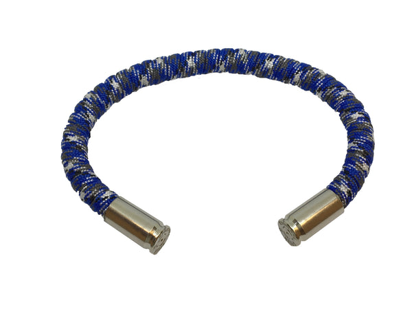 Bullet Bracelet, blue white black, made by Veterans with Broken Gear Inc
