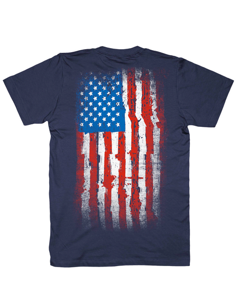 tattered American flag shirt, navy, by Broken Gear