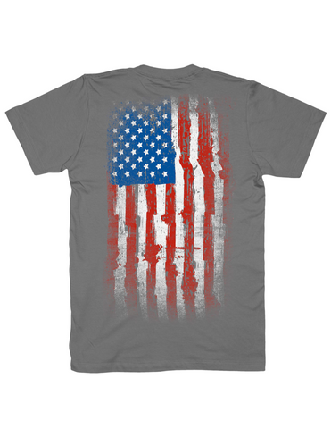 tattered American flag shirt, grey, by Broken Gear
