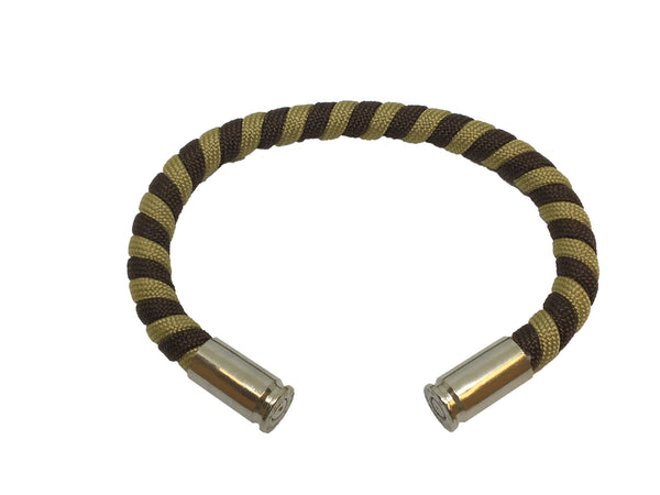 Bullet Bracelet, dark brown light brown, made by Veterans with Broken Gear Inc
