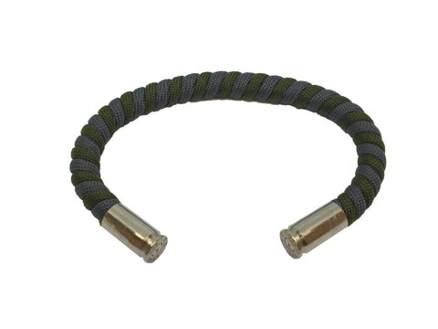 Bullet Bracelet, green and grey, made by Veterans with Broken Gear Inc