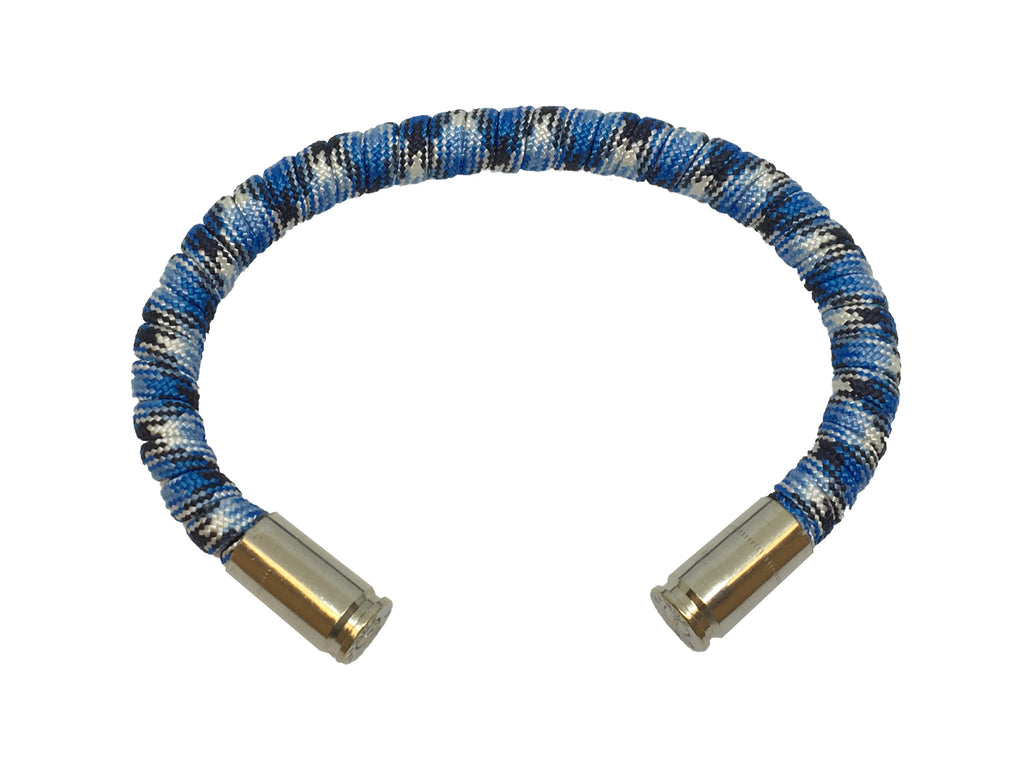 Bullet Bracelet, light blue and grey, made by Veterans with Broken Gear Inc