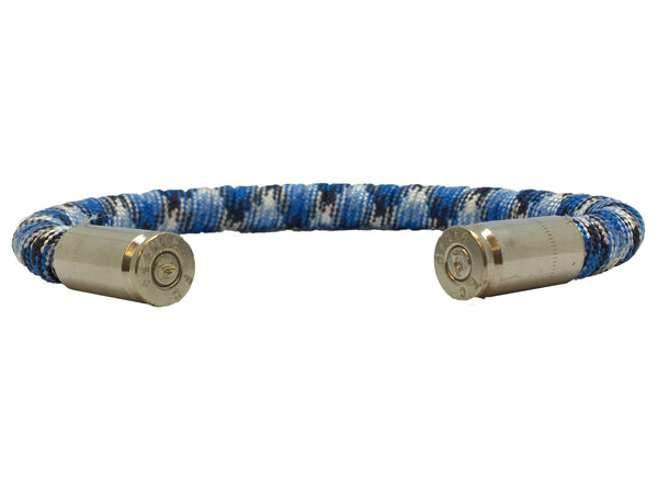 Bullet Bracelet, light blue and grey, made by Veterans with Broken Gear Inc, side view