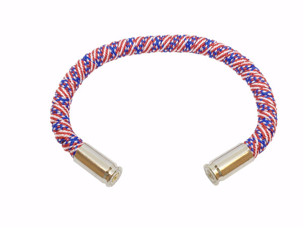 Bullet Bracelet, american flag, red white and blue, made by Veterans with Broken Gear Inc