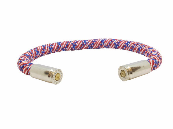 Bullet Bracelet, american flag, red white and blue, made by Veterans with Broken Gear Inc, side view
