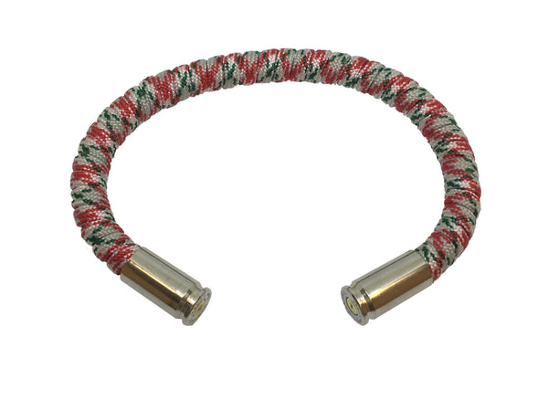 Bullet Bracelet, Christmas, red white and green, made by Veterans with Broken Gear Inc