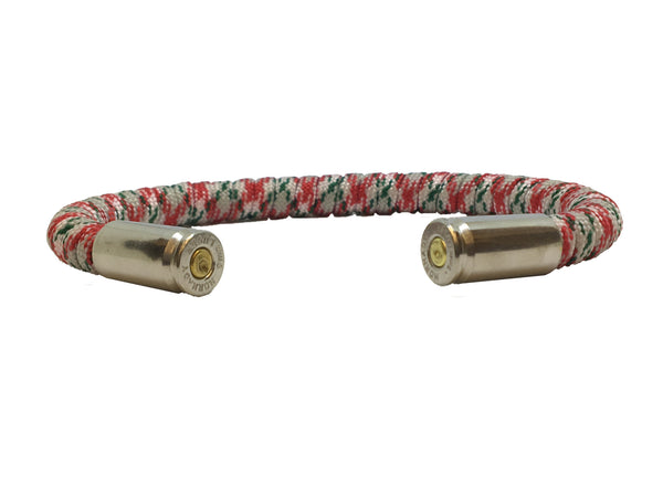 Bullet Bracelet, Christmas, red white and green, made by Veterans with Broken Gear Inc, side view