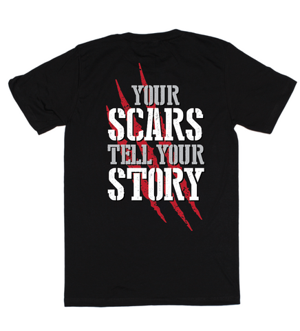 Your scars tell your story, t-shirt, black, by Broken Gear