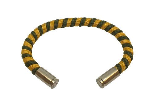 Bullet Bracelet, yellow and green, made by Veterans with Broken Gear Inc