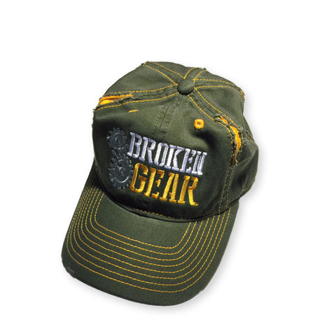 Broken Gear, OD Green hat, tattered, overhead view