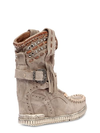Yara Primus Studded Suede Wedge Boots