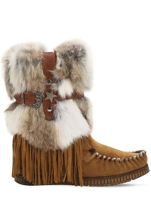 Martha Wedge Suede Boots with Fur